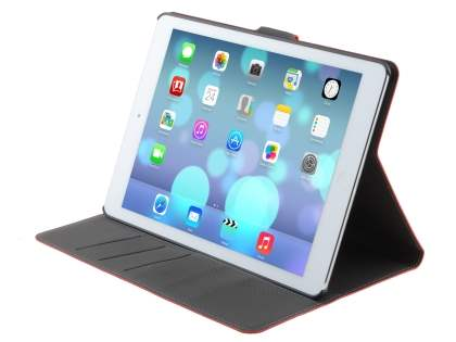 iPad Air 1st Gen Slim Synthetic Leather Wallet Smart Case with Stand - Red