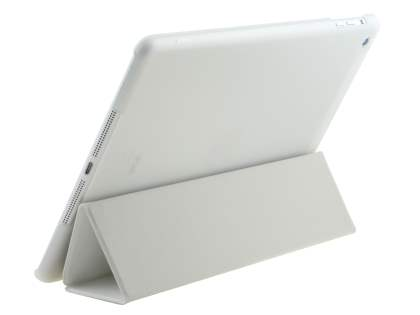 Premium Slim Synthetic Leather Smart Flip Case with Stand for iPad Air 1st Gen - White/Frosted Clear Leather Flip Case