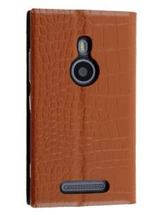 TS-CASE crocodile pattern Genuine leather Book-Style Case for Nokia Lumia 925 - Brown Leather Wallet Case