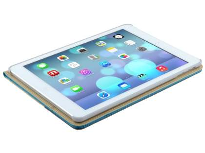 iPad Air 1st Gen Synthetic Leather Wallet Case with Stand - Blue