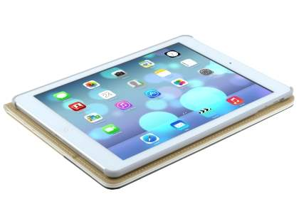 iPad Air 1st Gen Synthetic Leather Wallet Case with Stand - Pearl White