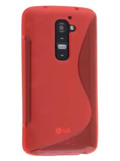 LG G2 Wave Case - Frosted Red/Red Soft Cover