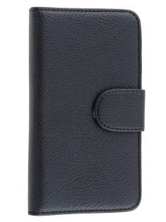 BlackBerry Z30 Synthetic Leather Wallet Case with Stand - Classic Black Leather Wallet Case