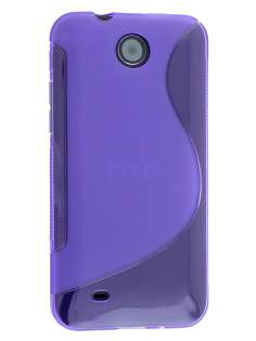 Wave Case for HTC Desire 300 - Frosted Purple/Purple Soft Cover