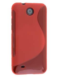 Wave Case for HTC Desire 300 - Frosted Red/Red Soft Cover