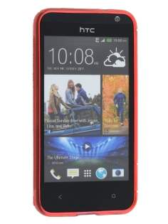Wave Case for HTC Desire 300 - Frosted Red/Red