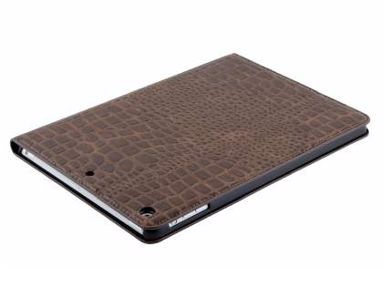 iPad Air 1st Gen Crocodile Pattern Synthetic Leather Case - Brown Leather Flip Case