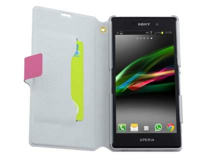 Sony Xperia Z1 Slim Genuine Leather Portfolio Case with Stand - Pink