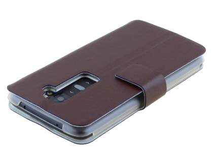 Slim Genuine Leather Portfolio Case for LG G2 - Dark Chocolate