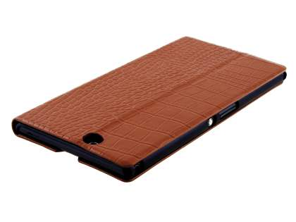 TS-CASE crocodile pattern Genuine leather Wallet Case for Sony Xperia Z Ultra - Brown