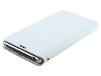 Sony Xperia Z1 Slim Genuine Leather Portfolio Case with Stand - Pearl White