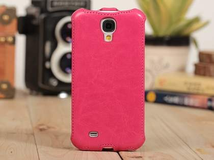 Synthetic Leather Flip Case for Samsung Galaxy S4 I9500 - Pink Leather Flip Case