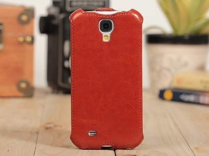 Synthetic Leather Flip Case for Samsung Galaxy S4 I9500 - Brown Leather Flip Case
