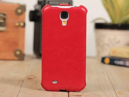 Synthetic Leather Flip Case for Samsung Galaxy S4 I9500 - Red Leather Flip Case