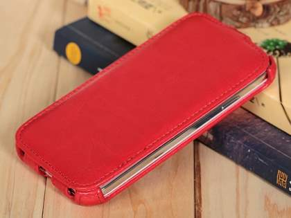 Synthetic Leather Flip Case for Samsung Galaxy S4 I9500 - Red