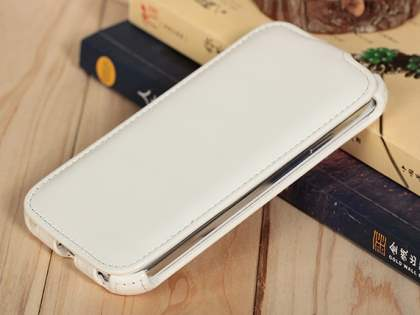 Samsung Galaxy S4 I9500 Slim Synthetic Leather Flip Case - Pearl White