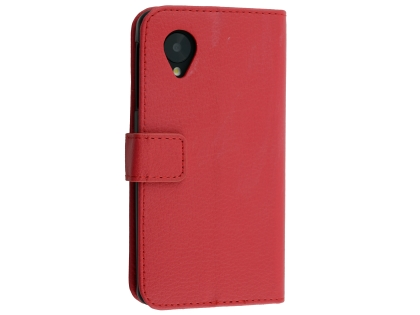 Synthetic Leather Wallet Case with Stand for LG Google Nexus 5 - Red Leather Wallet Case