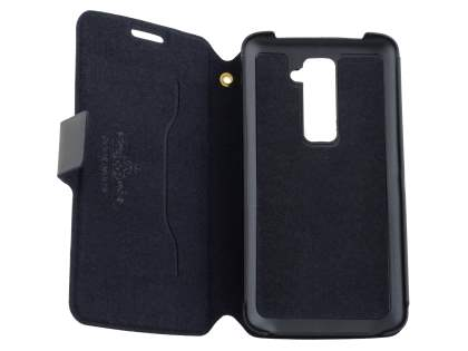 Slim Genuine Leather Portfolio Case for LG G2 - Classic Black
