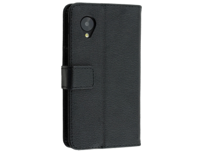 Synthetic Leather Wallet Case with Stand for LG Google Nexus 5 - Classic Black Leather Wallet Case