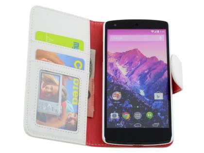 Synthetic Leather Wallet Case with Stand for LG Google Nexus 5 - Pearl White