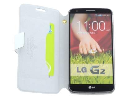 Slim Genuine Leather Portfolio Case for LG G2 - Pearl White