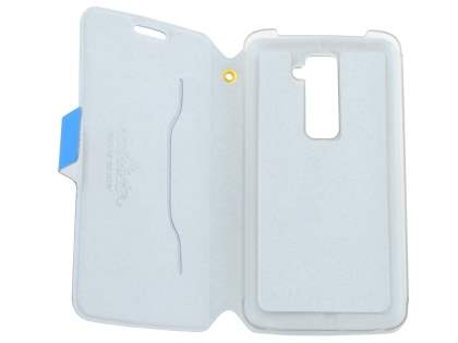 LG G2 Slim Genuine Leather Portfolio Case - Blue
