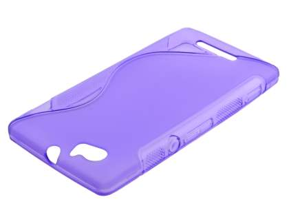 Wave Case for Sony Xperia M - Frosted Purple/Purple Soft Cover