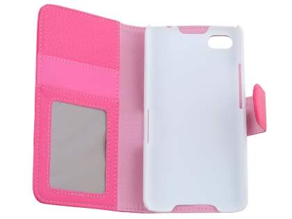 BlackBerry Z30 Synthetic Leather Wallet Case with Stand - Pink
