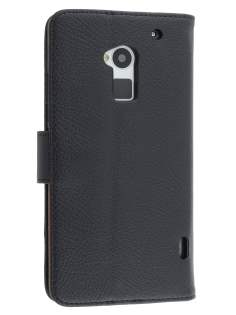 HTC One Max Synthetic Leather Wallet Case with Stand - Classic Black