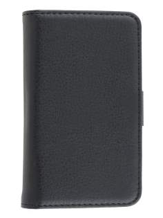 Samsung Galaxy Ace S5830 Slim Synthetic Leather Wallet Case with Stand - Classic Black