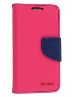 Mercury Goospery Colour Fancy Diary Case with Stand for Samsung Galaxy S4 Mini - Hot Pink/Navy Leather Wallet Case