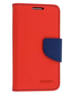 Mercury Goospery Colour Fancy Diary Case with Stand for Samsung Galaxy S4 Mini - Red/Navy Leather Wallet Case