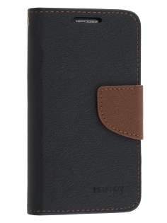 Mercury Goospery Colour Fancy Diary Case with Stand for Samsung Galaxy S4 Mini - Black/Brown Leather Wallet Case