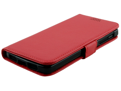 LG Google Nexus 5 Slim Synthetic Leather Wallet Case with Stand - Red