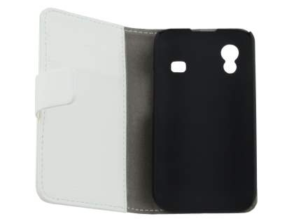 Samsung Galaxy Ace S5830 Slim Synthetic Leather Wallet Case with Stand - Pearl White