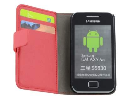 Samsung Galaxy Ace S5830 Slim Synthetic Leather Wallet Case with Stand - Red