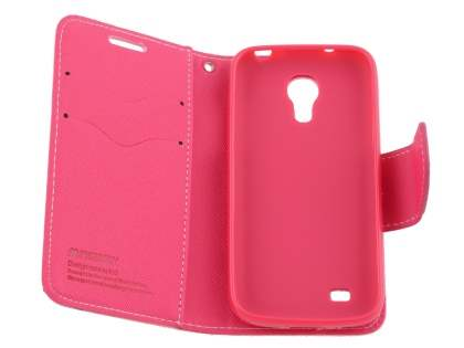 Mercury Colour Fancy Diary Case with Stand for Samsung Galaxy S4 Mini - Pink/Hot Pink