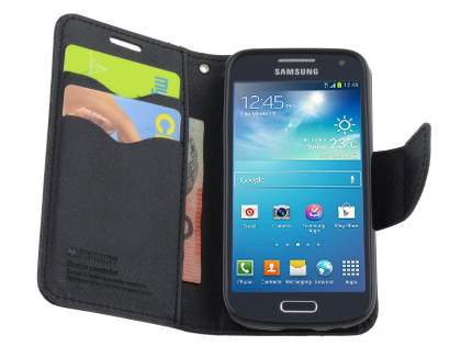 Mercury Goospery Colour Fancy Diary Case with Stand for Samsung Galaxy S4 Mini - Classic Black