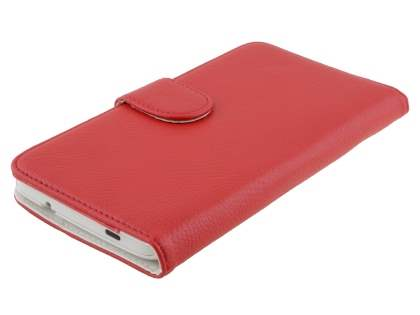 HTC One Max Synthetic Leather Wallet Case with Stand - Red