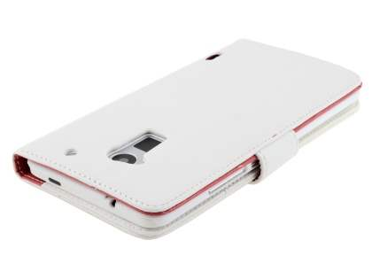 HTC One Max Synthetic Leather Wallet Case with Stand - Pearl White
