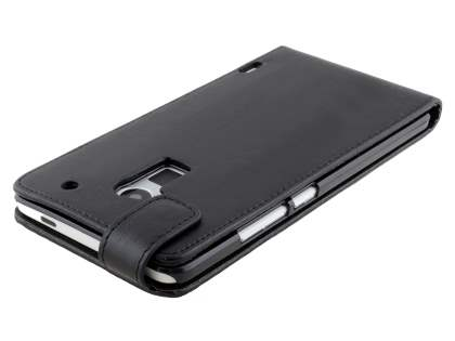 HTC One Max Synthetic Leather Flip Case - Classic Black