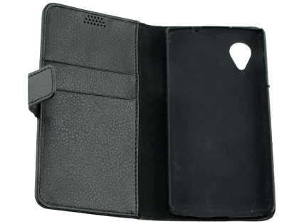 LG Google Nexus 5 Slim Synthetic Leather Wallet Case with Stand - Classic Black