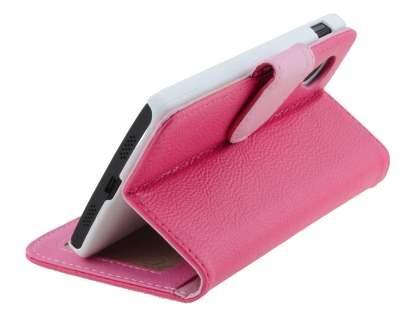 LG Google Nexus 5 Slim Synthetic Leather Wallet Case with Stand - Pink