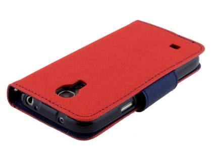 Mercury Goospery Colour Fancy Diary Case with Stand for Samsung Galaxy S4 Mini - Red/Navy