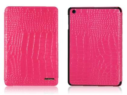 TS-CASE crocodile pattern Genuine Leather Smart Flip Case for iPad Air 1st Gen - Pink Leather Flip Case