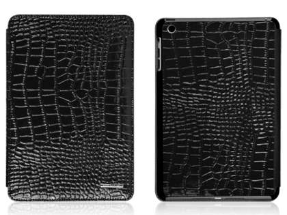 TS-CASE crocodile pattern Genuine Leather Smart Flip Case for iPad Air 1st Gen - Classic Black Leather Flip Case