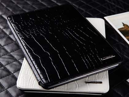 TS-CASE crocodile pattern Genuine Leather Smart Flip Case for iPad Air 1st Gen - Classic Black