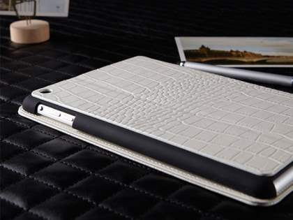 TS-CASE crocodile pattern Genuine Leather Smart Flip Case for iPad Air 1st Gen - Pearl White