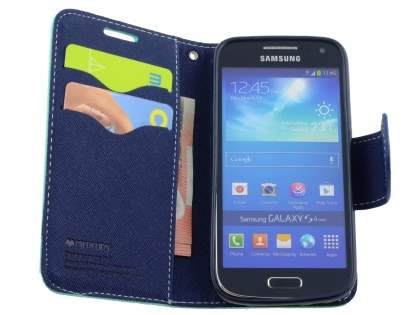 Mercury Goospery Colour Fancy Diary Case with Stand for Samsung Galaxy S4 Mini - Mint/Navy