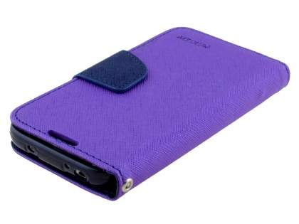 Mercury Goospery Colour Fancy Diary Case with Stand for Samsung Galaxy S4 Mini - Purple/Navy